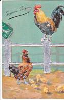 23815 Joyeuses Paques  -  Coq Poule Poussin Oeuf Francais Barriere -argent Relief - Sans Editeur - Pâques