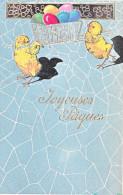 23816 Joyeuses Paques  -  Coq Poule Poussin Oeuf - Dessin Relief - Sans Editeur - Pâques