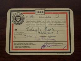 Verhaeghe Basile Lidkaart Verbond Gevangenen Oost Vlaanderen ( 1914-18 ) 1925 N° 34 Afd. J ( Zie Foto´s Voor Details) ! - Documents