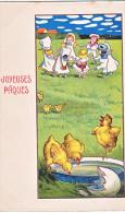 23819 Joyeuses Paques  -  Coq Poule Poussin Oeuf Ronde Enfant Fillette - Dessin Relief -  PP ? - Pâques