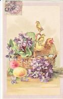 23821 Joyeuses Paques  -  Coq Poule Poussin Oeuf Violettes Panier - Dessin Relief - Sasn Ed