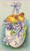 23824 Joyeuses Paques Heureuses -  Coq Poule Poussin Oeuf Myosotis - Dessin Relief - Sasn Ed