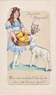 23828 Joyeuses Paques Dessin Enfant Fillette Poussin Agneau -collage -sans Ed, Peut Etre Faite Maison