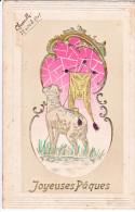 23829 Joyeuses Paques Dessin Banniere  Agneau -dessin Relief -editeur ; Schwidernoch, Deutsch Wagram Autriche - Pâques