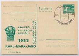 DDR P84-47-83 C54 Postkarte Zudruck ESPERANTO KARL-MARX-JAHR Sost. 1983 - Karl Marx