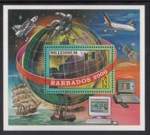 Barbados MNH Scott #977 Souvenir Sheet $3 Millenium - Sailing Ships To Space Shuttle - Barbades (1966-...)