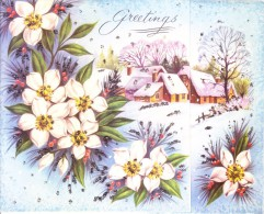 VERY OLD & VINTAGE GREETINGS CARD - IDD MUBARAK - CHRISTMAS AND NEW YEAR GREETINGS - PRINTED IN ENGLAND - Magnets