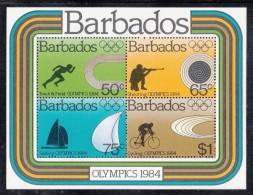 Barbados MNH Scott #626a Souvenir Sheet Of 4 1984 Summer Olympics Los Angeles - Track, Shooting, Sailing, Cycling - Barbades (1966-...)