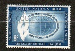 NATIONS UNIES (New York)  8c Bleu  1956 N°47 - New-York - Siège De L'ONU