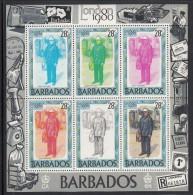 Barbados MNH Scott #532, #533 Souvenir Sheets Of 6 Mailmen - London 80 - Barbades (1966-...)