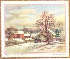 VERY OLD & VINTAGE GREETINGS CARD - CHRISTMAS AND NEW YEAR GREETINGS - COLONIAL WINTER SCENE - Magnets