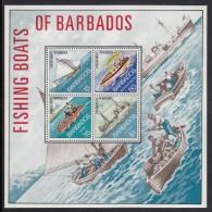 Barbados MNH Scott #395a Souvenir Sheet Of 4 Fishing Boats Of Barbados - Old Sailboat, Rowboat, Motorboat, Trawler - Barbades (1966-...)