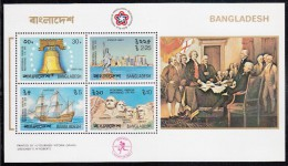 Bangladesh MNH Scott #114a Souvenir Sheet Of 4 Liberty Bell, Statue Of Liberty, Mayflower, Mt Rushmore - American 200th - Bangladesh