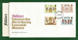 GB GREAT BRITAIN 1981 Grande Bretagne - FOLKLORE - 4v FDC UA + Brochure - Morris Dancers , Lammastide , Medieval Mummers - Dance