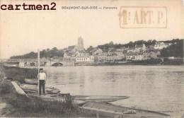 BEAUMONT-SUR-OISE PANORAMA + CACHET MILITAIRE DU 1er REGIMENT ARTILLERIE BAILLET MONSOULT - Beaumont Sur Oise