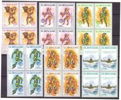 Surinam / Suriname 1992 Olympics Basketball Basket Soccer Swimming Biking MNH Block Of 4 - Zomer 1992: Barcelona