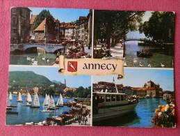 Dep 74 , Cpm ANNECY , Multivues , La Palais De L'isle , Le Canal Du Vassé Et Le Pont Des Amours (257)Recto/Verso - Annecy