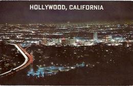 POSTCARD HOLLYWOOD AT NIGHT. LOS ANGELES BASIN. UNCIRCULATED. GECKO.