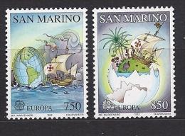 Timbre(s) Neuf(s) **san Marino, Europa 1992, N°1301-2 Y Et T,découverte De L´amérique Par Christophe Colomb, Carte Anci - Saint-Marin