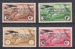 TRIPOLITANIA  1934 POSTA AEREA VOLO DIRETTO ROMA BUENOS AIRES SASS. 30-33 MLH VF - Tripolitania