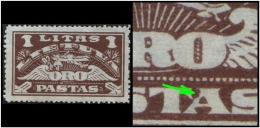 """Lithuania (Flight: Aeroplane) 1l. (Sc # C35) Plate Error: Alphabet """"A""""  Broken With Fancy Style In Text """"PASTAS"""" (Mint) - Lithuania"""