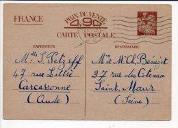 1941 Oblitération Mécanique Flier Carcassonne R.P. Sur Entier Sans Valeur - CP2  Iris Pour St Maur,verso Cachet Facteur - Entiers Postaux