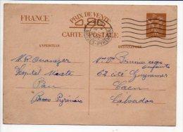 1940 Oblitération Mécanique Flier De Pau Sur Entier Sans Valeur - CP2  Iris De L'Hôpital Mixte Pour Caen - Entiers Postaux