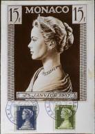 MONACO 1957 - CARTE POSTALE - Commémoration De La Naissance De La Princesse Caroline De Monaco  - Monaco Le 11.5.1957 - Cartes-Maximum (CM)