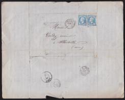 France N°22 Sur Lettre 1866 Obl. GC 2535 / Morez Du Jura / Bureau De Passe 1307 / Albertville - 1849-1876: Classic Period