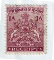 India-Mysore State 1 Anna Receipt Type 22 #DF234 - India