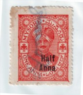 India-Mysore State Over Printed Half Anna On 1 Anna Court Fee/Revenue Type 26 #DF235 - India