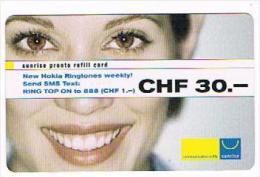SVIZZERA (SWITZERLAND) - SUNRISE (GSM  RECHARGE) - GIRL 30  - USED  -  RIF. 8094 - Svizzera