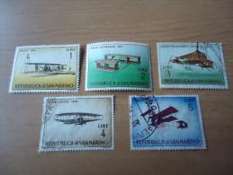 San Marino: 5 Werte Alte Flugzeuge - Gebraucht