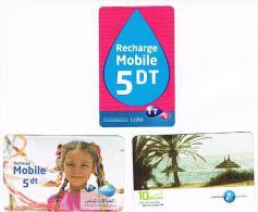 TUNISIA  -  TUNISIE TELECOM  (GSM RECHARGE) - LOT OF 3 DIFFERENT  -  USED  -  RIF. 8104 - Tunisia