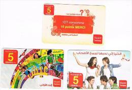 TUNISIA  -  TUNISIANA  (GSM RECHARGE) -  LOT OF 3 DIFFERENT     -  USED  -  RIF. 8105 - Tunisia