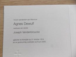 Doodsprentje Agnes Dewulf Koksijde 31/10/1914 - 8/6/2000 ( Joseph Vandenbroucke ) - Religione & Esoterismo