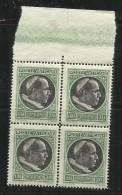 VATICANO VATICAN VATIKAN 1945 MEDAGLIONCINI STEMMA EFFIGIE PAPA PIO XII LIRE 20 QUARTINA BLOCK MNH - Unused Stamps