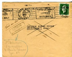 Marianne De Dulac 80 C Seul Sur Lettre 1945 Oblitération Mécanique Loterie Nationale Retour Décédé - Marcophilie (Lettres)