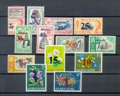 SIERRA LEONE * 13v * DEFINITIVES * OVERPRINT * FLOWERS FLORA DIAMOND MINER FARMING * MNH - Sierra Leone (1961-...)