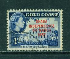 GHANA  -  1957  Overprinted Gold Coast Issues  1d  Used As Scan - Ghana (1957-...)