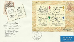 Great Britain 1988 Verse For Children Mini Sheet Addressed FDC - FDC