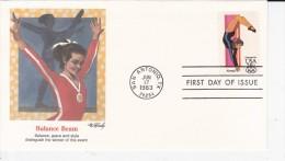 USA, SAN ANTONIO, Jeux Olympiques 84, Balance Beam, Gymnastique Féminine, JO Los Angeles, FDC 17/06/1983 - Premiers Jours (FDC)