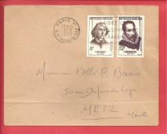 N°Y&T 1132+1134 PARIS    Vers  METZ   05 MARS1958 - Covers & Documents