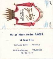 Tres Ancienne Carte Parfumée Parfum Super Cologne Royale Lt Piver Coiffeur Toulouse - Anciennes (jusque 1960)
