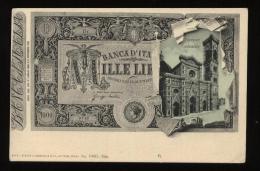 CARTOLINA FORMATO PICCOLO  CON MILLE LIRE E CATTEDRALE DI FIRENZE - Monete (rappresentazioni)