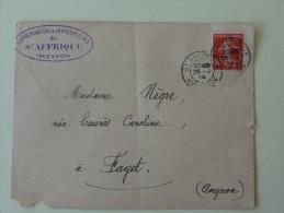 """St Affrique Aveyron 10C Semeuse Sur Lettre  1914 """"Conservation Des Hypotheques """" - 1877-1920: Semi Modern Period"""