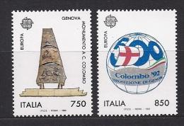 Timbre(s) Neuf(s) **italie, Europa 1992, N°1940-1 Y Et T,découverte De L´amérique Par Christophe Colomb,caravelles - 1946-.. République