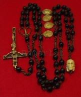 Rosary 6 Decades Carmelite ( Memento Mori, 4 Big Brass Medals) 10 Scan Rosario Chapelet - Religion & Esotérisme