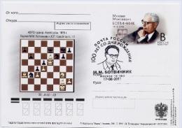 Echecs Carte Entier Postal Russie 2011 Botvinnik Chess Card Postal Stationary Russia - Echecs