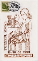 Echecs Carte Non Circule Roumanie 1993 Feminin Timisoara Chess Card Romania Not Travelled - Echecs